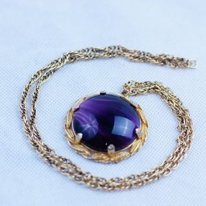 1950's purple agate necklace w/ engraved leaves